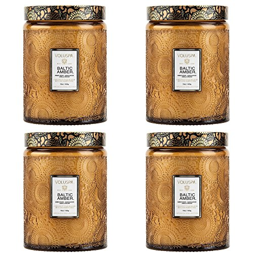 - Voluspa Baltic Amber Large Embossed Glass Jar Candle ( 4 pack )