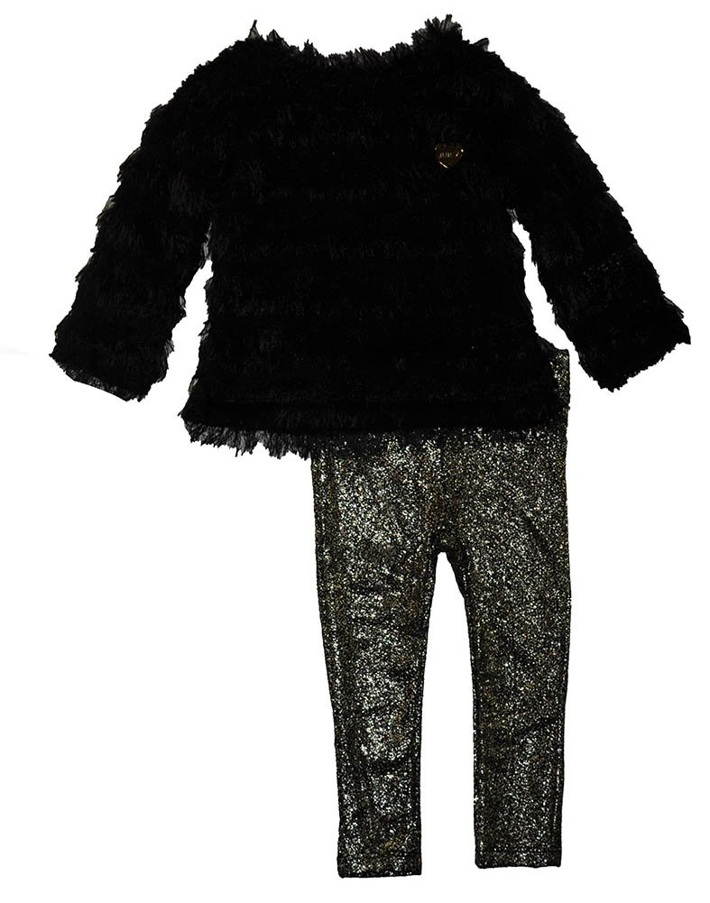 Juicy Couture Little Girls' Toddler Eyelash Sweater and Foil Printed Pant Set, Black, 3T