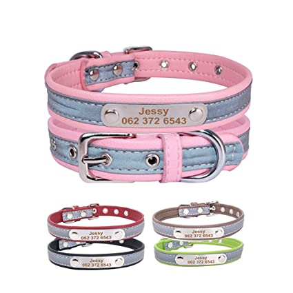 0bc7e37a723f YVYOO Adjustable Leather Custom Pet Dog Collar Accessories, Free  Personalized Engraved Name Telephone Braided Leather