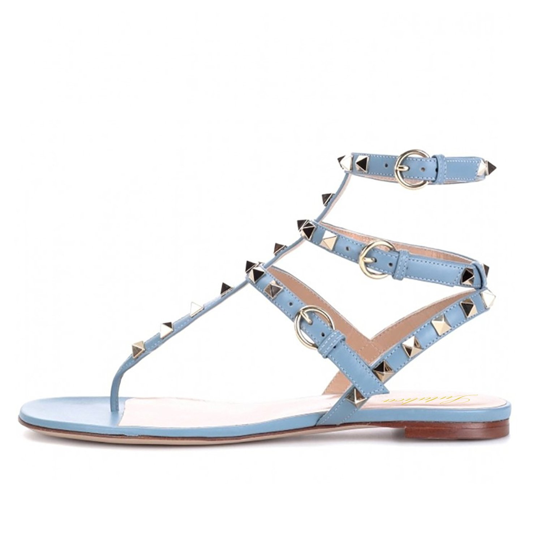 Blau Lutalica Damenmode T-Strap Besetzt Casual Komfort Sommer Flache Sandalen Schuhe