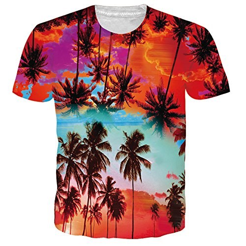 UNIFACO Mens Unisex Hawaiian T-Shirt allover Coconut Tree Print Beach Aloha Party Tees For Teen Boys L
