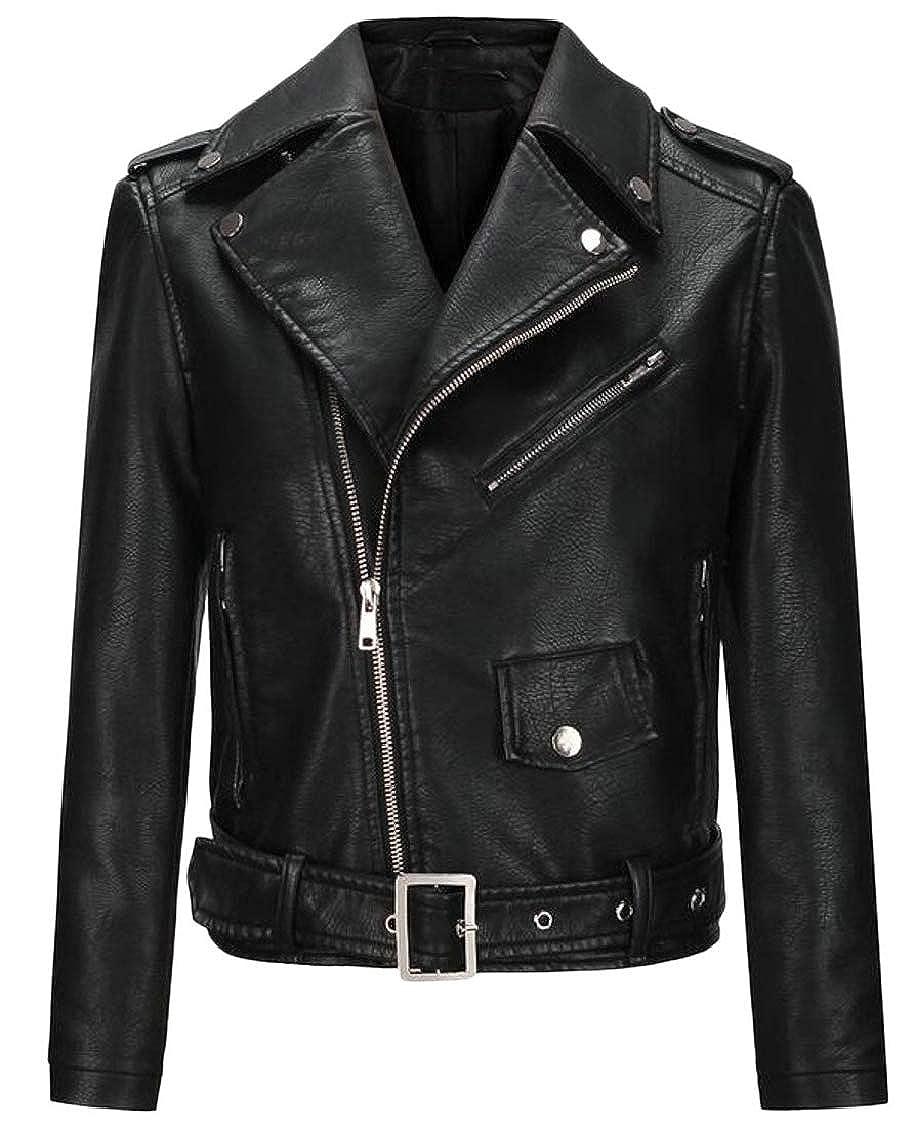Black Women's Lapel Zipepr up Long Sleeve Faux Leather Jacket Coats