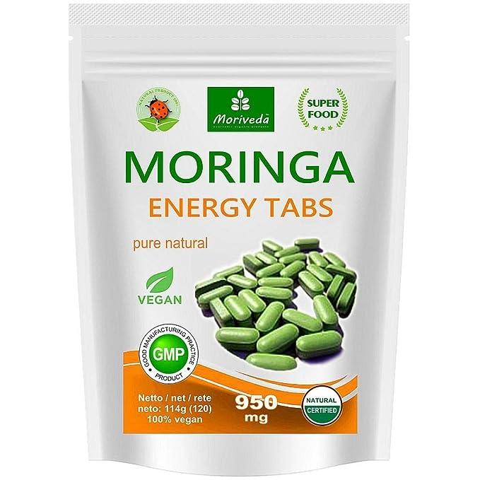 Moringa Energia Tabs 950mg o Moringa cápsulas 600mg - Oleifera, vegetariano, Producto de calidad de MoriVeda (120 tabs): Amazon.es: Salud y cuidado personal