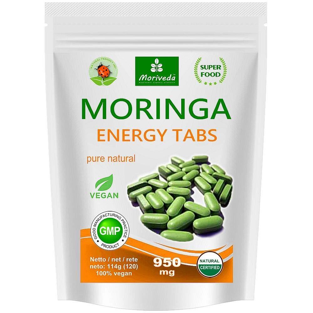Moringa Energia Tabs 950mg o Moringa cápsulas 600mg - Oleifera, vegetariano, Producto de calidad