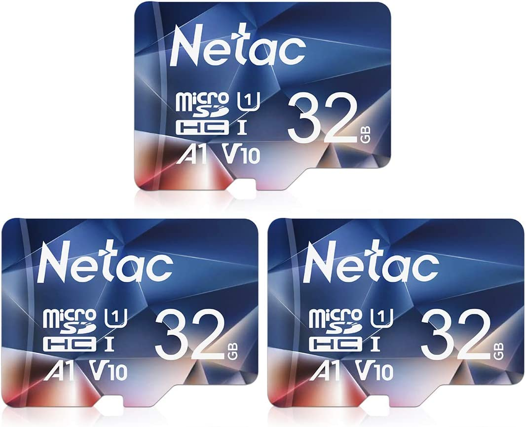 Netac 32GB x 3 Micro SD Card, microSDHC UHS-I Memory Card - 90MB/s, 600X, U1, C10, Full HD Video V10, A1, FAT32, High Speed Flash TF Card P500 for Smartphone/Bluetooth Speaker/Tablet/PC/Camera/VR