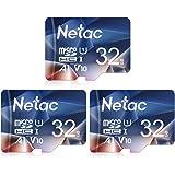 Netac 32GB x 3 Micro SD Card, microSDHC UHS-I Memory Card - 90MB/s, 600X, U1, C10, Full HD Video V10, A1, FAT32, High Speed F
