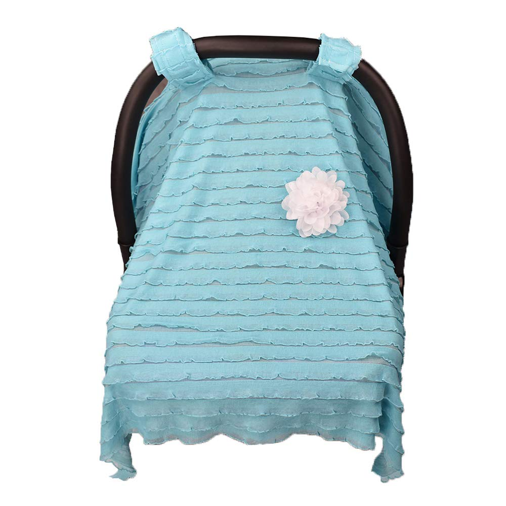 Breathable Baby Carseat Canopy, Travel Car Seat Covers, Stroller Covers for Infants Baby Boys and Girls Stylish Ruffles (White) Romiracle
