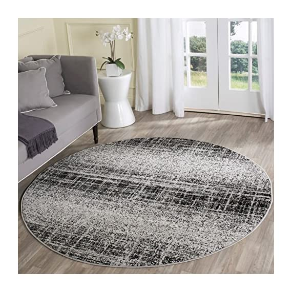Safavieh Adirondack Collection ADR116A Silver Black Modern Abstract Distressed Runner - Choose from available sizes and shapes Choose from available colors Easy-care polypropylene material - living-room-soft-furnishings, living-room, area-rugs - 61Xsp4qiJKL. SS570  -