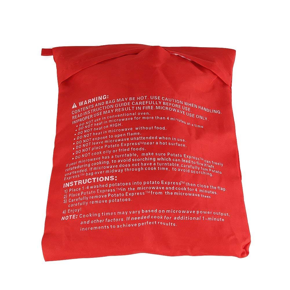 2 Pack Mikrowelle Kartoffel Tasche, magnolian Mais, Day-Old Brot, Tortillas Herd Tasche, waschbar und wiederverwendbar, Rot 20x25 cm YIQI