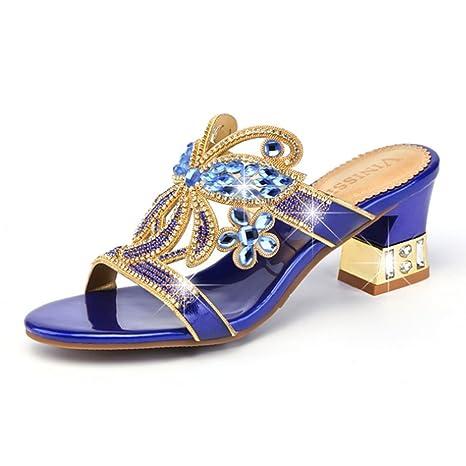 HIGHXE Desgaste del Verano de Las Zapatillas de Deporte de Diamantes de imitación con Las Sandalias