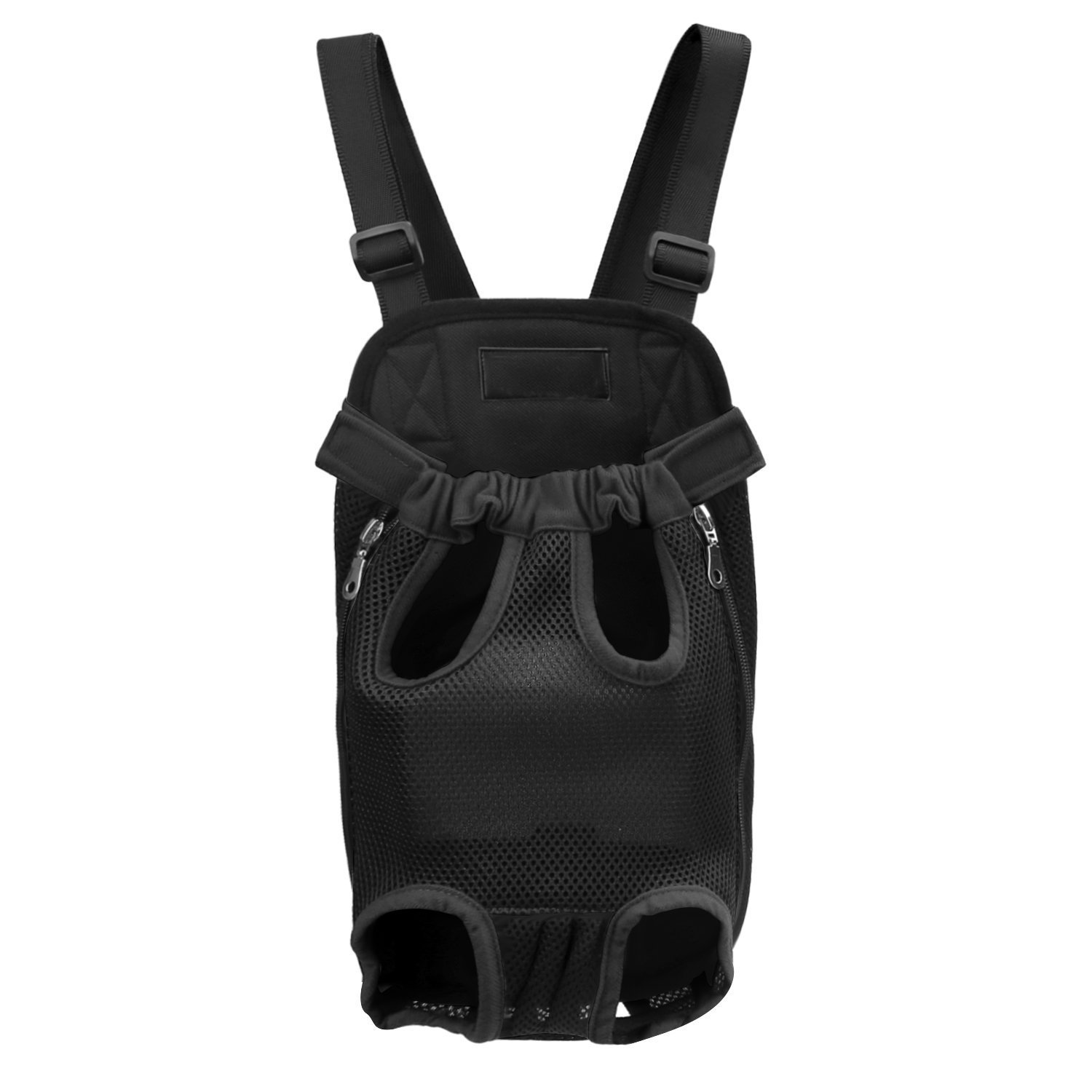 Santune Pet Dog Cat Carrier Front Backpack Black,Adjustable Shoulder Strap Legs Out Front Chest Travel Backpack for Small Dog (Black, L)