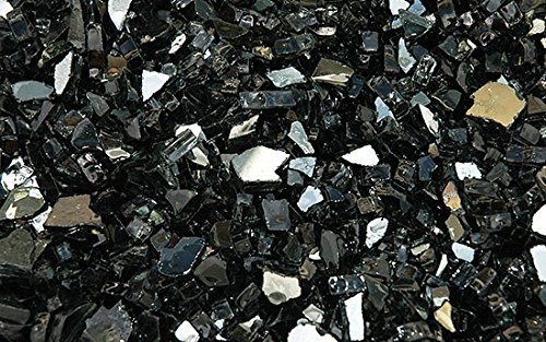 Fire Glass for Fire Pits Reflective Black 1/4 Glass Pellets (10Lbs)