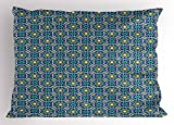 Lunarable Arabian Pillow Sham, Eastern Architectural Patterns Colorful Tile Traditional Arabic Flowers Geometric, Decorative Standard Size Printed Pillowcase, 26 X 20 inches, Multicolor