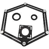 Régua de medição de vários ângulos de alumínio dobrável com parafusos de metal para ferramenta profissional de piso de madeir
