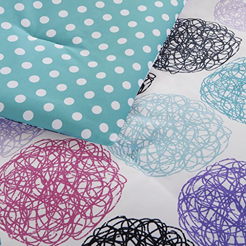 Mi Zone Carly Comforter Set filled Queen Size Teal Purple Doodled Circles Polka Dots 4 Piece Bed Sets extra fluffy Microfiber Teen Bedding For Girls Bedroom
