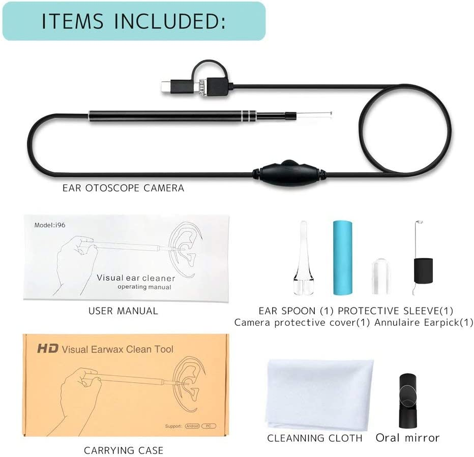 BlackEdragon Visual Ear Canal Endoscope Ear Cleaner with 30M//130M Pixels Camera Endoscope