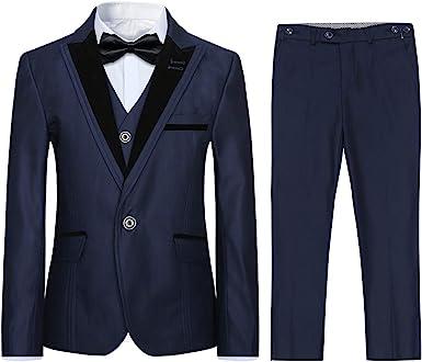 Tuxedo - Traje de 3 piezas para niño, diseño clásico, ajustado para boda, vestido de fiesta