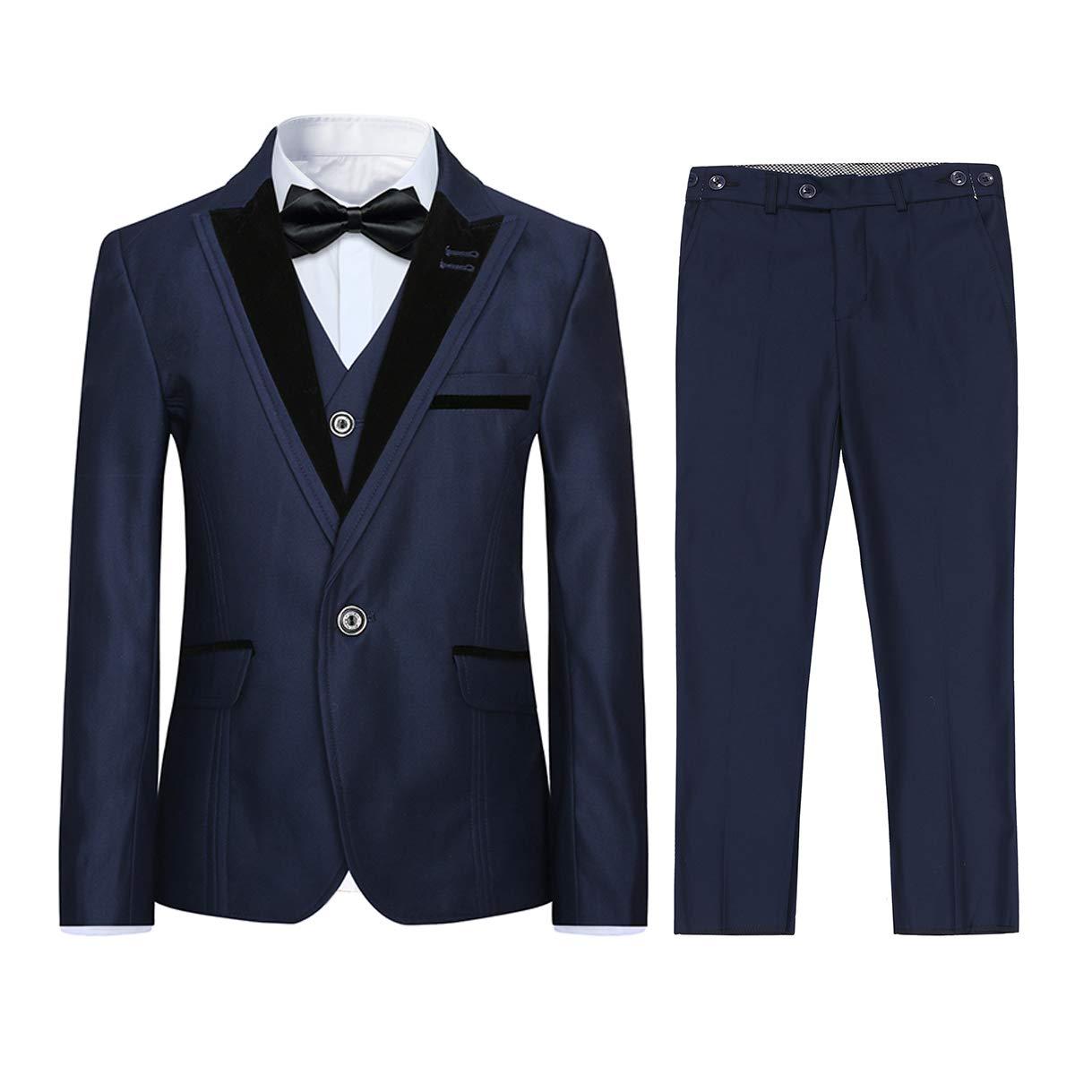 Boyland Boys 5 Pieces Formal Suits Classic Peak Lapel Slim Fit Tux Jacket Vest Pants Birthday Party Wedding Navy