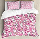 Anime Duvet Cover Set by Ambesonne, Funny Kawaii Illustration with Rabbits Funky Cute Animals Bunnies Kids Humor Print, 3 Piece Bedding Set with Pillow Shams, Queen / Full, White Pink
