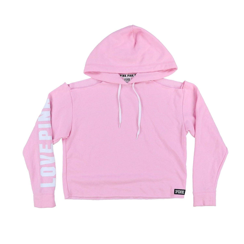 db747ff7e8b81 Victoria's Secret Pink Hoodie Cold Shoulder Sweatshirt (M, Pink) at ...