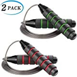 ZELFVER Skipping Rope, 100% Tangle Free Jump Rope with Dual Ball Bearings, Ideal for Aerobic Exercise Like Speed Training, Endurance Training and Gym Fitness - 2 Pack
