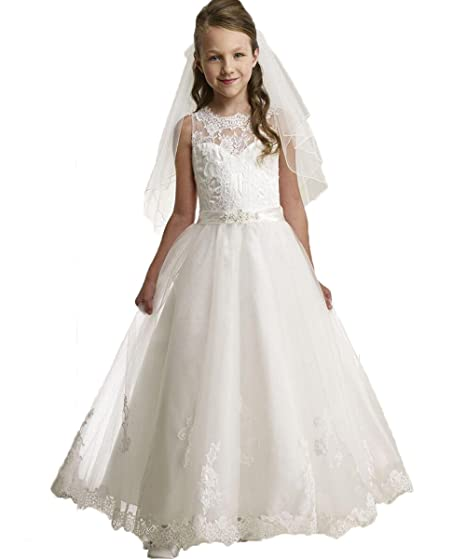 b641aafedfd VIPbridal White First Holy Communion Dress Gown For Girls With Sleeveless  Flower Girl Dresses  Amazon