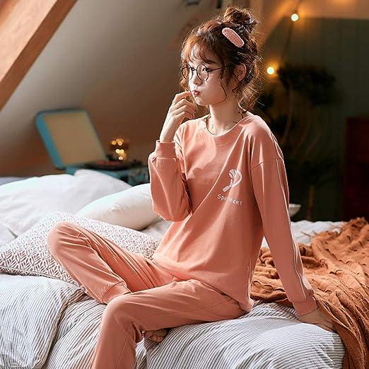lxylllzs Pijama Mujer Invierno Algodon 2 Piezas,Pijamas de Mujer de Primavera y otoño, Manga Larga de algodón Casual Home Wear-M_5,Satén 2 Piezas Pijama Conjunto: Amazon.es: Hogar