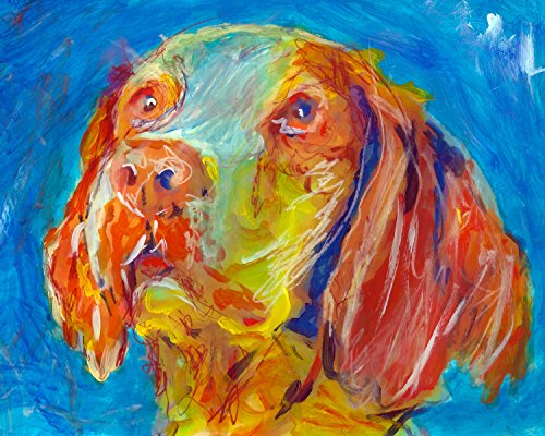 Brittany Spaniel Painting Wall Art Print, Brittany Spaniel Dog Art, Brittany Spaniel Owner Gift, Dog Wall Art Print, Colorful Dog, Brittany Spaniel Gift