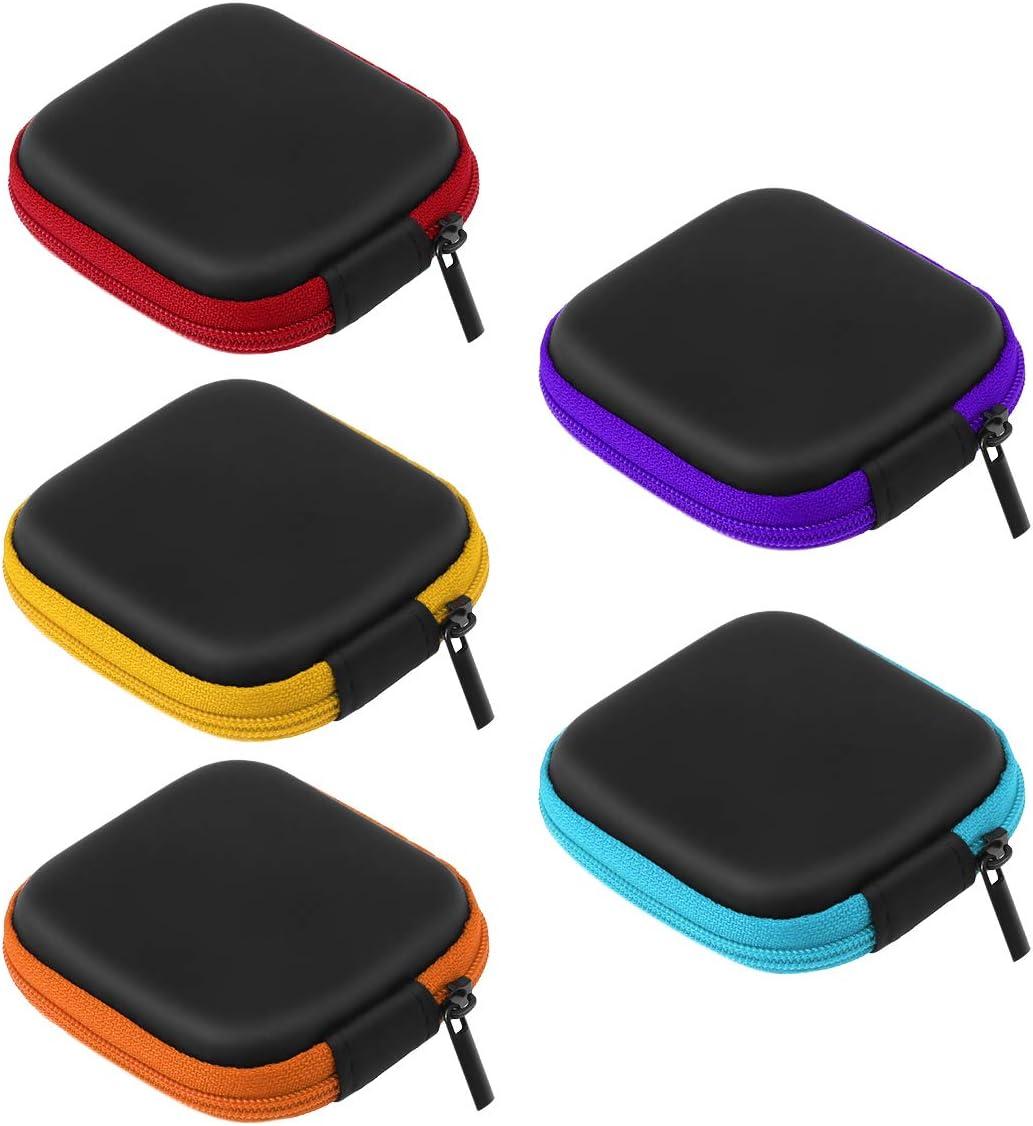 UEETEK 5 Unids Color Surtido Mini Caja de Almacenamiento de Auriculares EVA, Portátil de Viaje Estuche Auriculares Auriculares Auriculares con Cable USB Bolsa