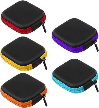 UEETEK 5 Unids Color Surtido Mini Caja de Almacenamiento de Auriculares EVA, Portátil de Viaje Estuche Auriculares Auriculares Auriculares con Cable USB Bolsa: Amazon.es: Electrónica