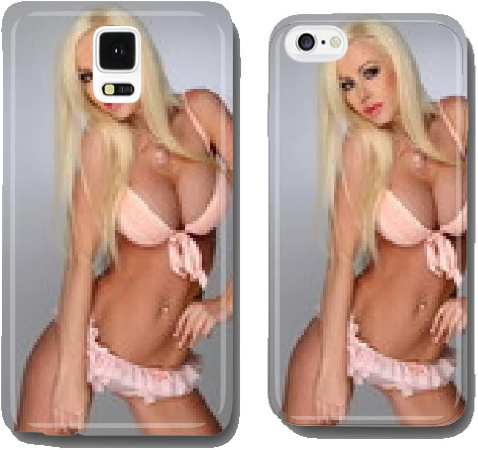 Sexy Busty Blonde Young Woman Posing In Pink Lingerie Cell Phone