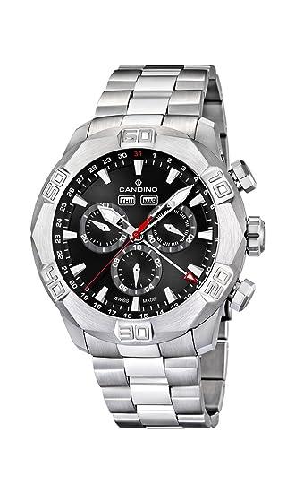 Candino C4477/3 - Reloj cronógrafo de Cuarzo para Hombre con Correa de Acero Inoxidable, Color Plateado: Amazon.es: Relojes