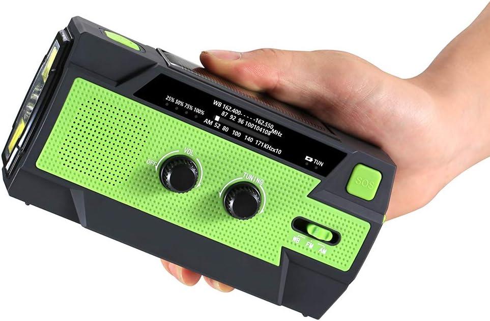 L/ámpara De Lectura De 4 Led Linterna Clima Radio De Manivela Digital Solar Alarmas Sos Energ/ía Recargable Konesky Radio De Emergencia Port/átil Radios De Cuerda Am//FM