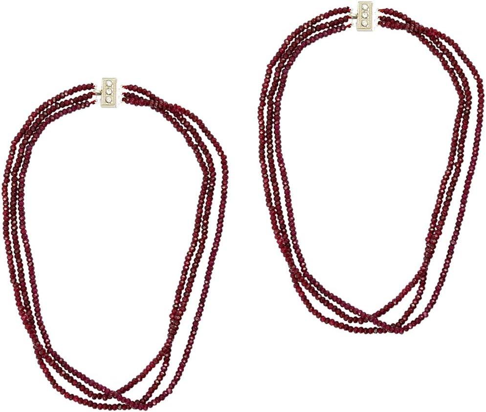 sharprepublic 2 Unids Red Jade Beads-Ruby Granos Redondos Collar Pulsera De Cadena Collar Accesorios De La Joyería Colgantes