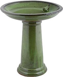 Esschert Design FB424 Bath on Pedestal with Bird, Ceramic, Green
