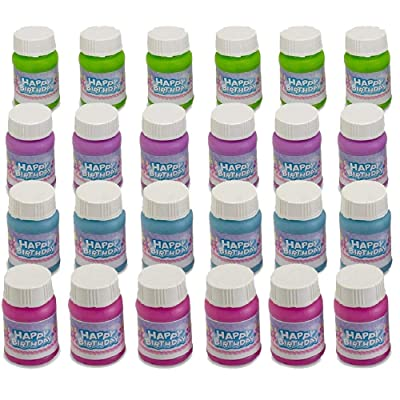 Kicko Happy Birthday Bubbles Assorted Color Mini 1 Oz Bubble Bottles 24 Pack - for Children, Parties, Party Favors, Games, Fun, Play, and Celebrations: Toys & Games