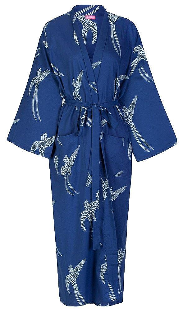 Susannah Cotton DESIGNER Morgenmantel, Premium BIO Baumwolle Frauen Mädchen Damen Bademantel, Trendfarbe MARINE-BLAU mit SCHWALBEN Printmuster, Kimono Hausmantel 100% soft, leicht, lang Sleepwear