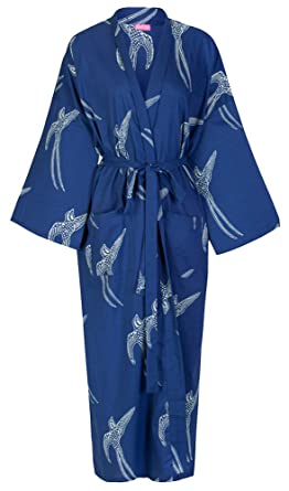 Cotton Kimono Robe Women s Bathrobe  100% Light Organic Cotton Hand-Printed   177f15990