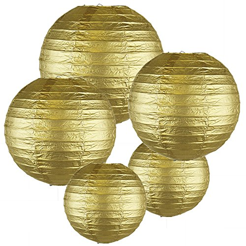 Just-Artifacts-GOLD-ChineseJapanese-Paper-Lanterns-Assorted-2-8inch-2-12inch-1-16inch-Click-for-more-colors