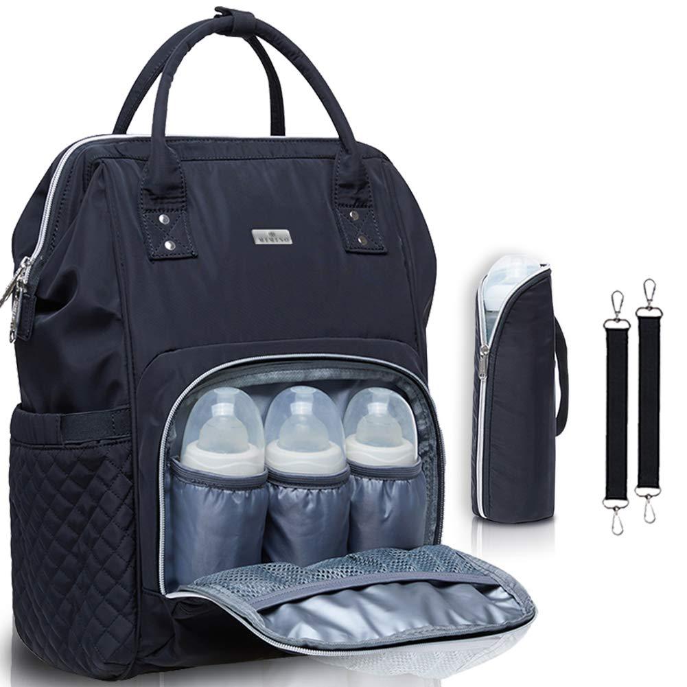 Wickelrucksack für Babys, MIMINOBABY, schwarze Wickeltasche mit isolierter Tasche Wickelrucksack für Babys