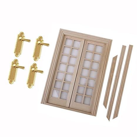 Homyl Mini Puerta De Madera del Panel 28 Exterior Y Cerraduras De Puerta para 1/