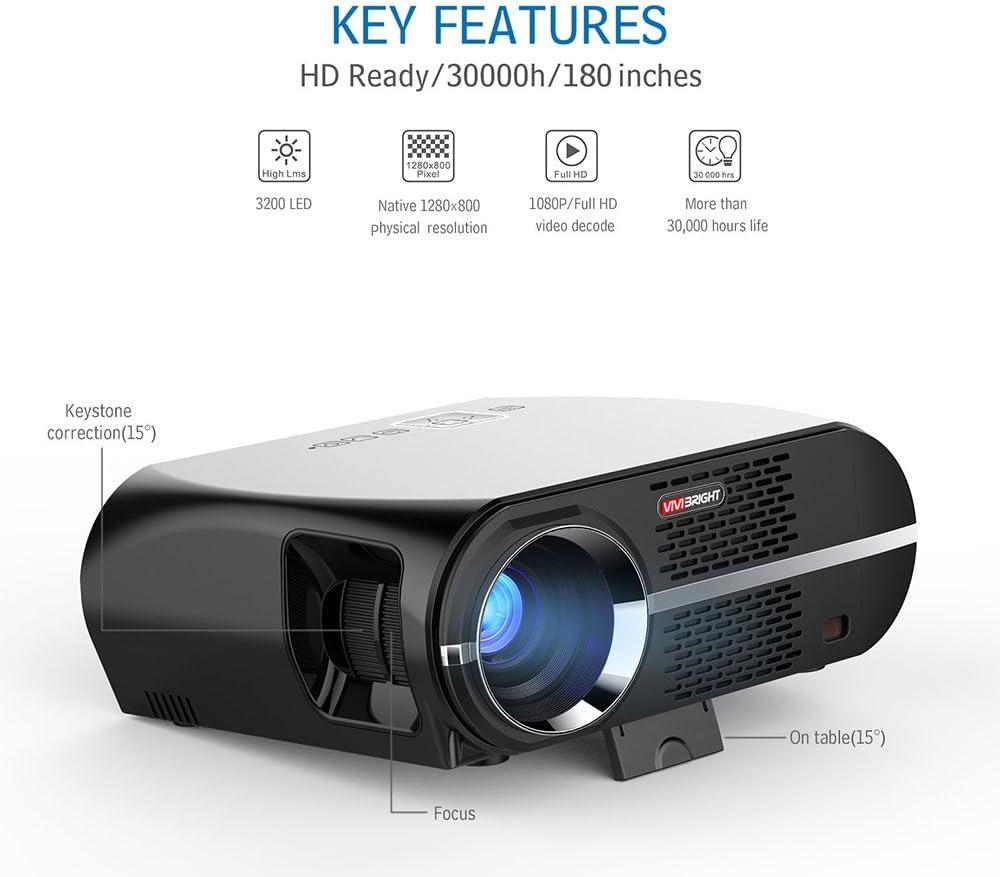 Proyector de vídeo, 3.500 lúmenes LCD 1080P Full HD LED multimedia ...