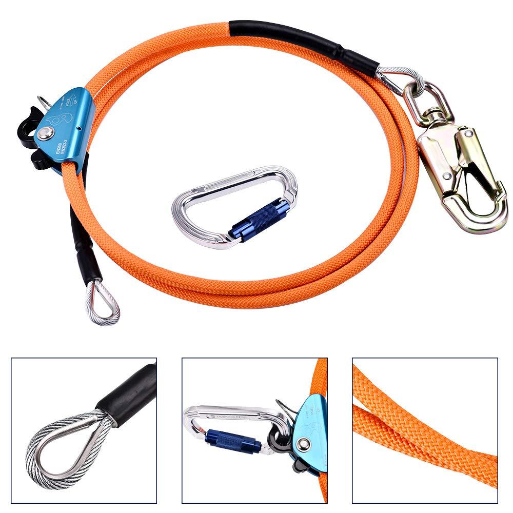 SEAAN Steel Wire Core Flipline Kit 1/2'' x 10 ft - Flipline Lanyard with Triple Lock Carabineer Adjuster for Climbing Trees - Adjustable Lanyard, Better Grab, Low Stretch, Cut Resistant