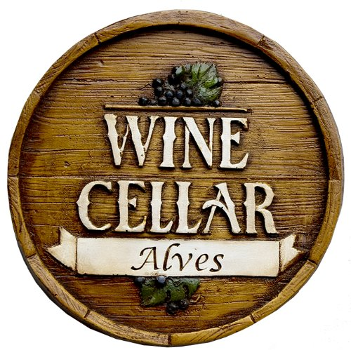 (Piazza Pisano Wine Barrel Personalized Wine Cellar Sign)
