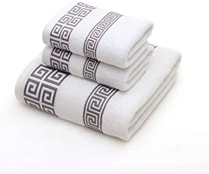100% Cotton Highly Absorbent Embroidered Towels 3-Piece Towel Set Hotel Bath Towel, 1 Bath Towels, 2 Hand Towels Extra Thick Beach Bath Towels (White)