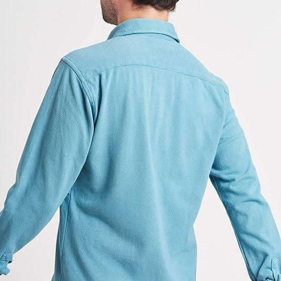HOOK Camisa Polera Manga Larga para Hombre Color Liso Azul Claro - Tejido Polo Piqué Cuello Italiano - 100% Algodón Regular Fit - 3097: Amazon.es: Ropa y accesorios