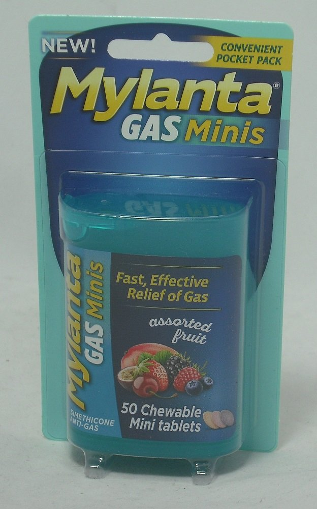 Mylanta Gas Mini Chewable Tablets, Assorted Fruit 50 Count (5 Pack) by Mylanta