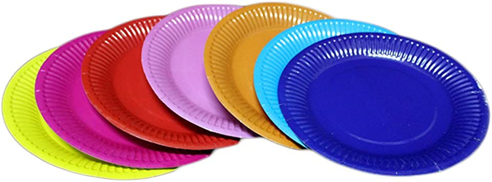 Pyd 50pcs Disposable Colorful Paper Plate Trays Kids Birthday Supplies Cake Dessert Fruit Dish Creative Tableware Party Decor Accessories Kitchen Dining