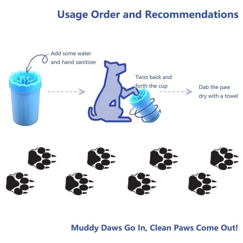 S S-Lifeeling Dog Paw Cleaner Pet Muddy Foot Washer Cup Portable Outdoor Mud Washing Dirty Paw Cleaning Brush Dog Paw Care Cup Random Color