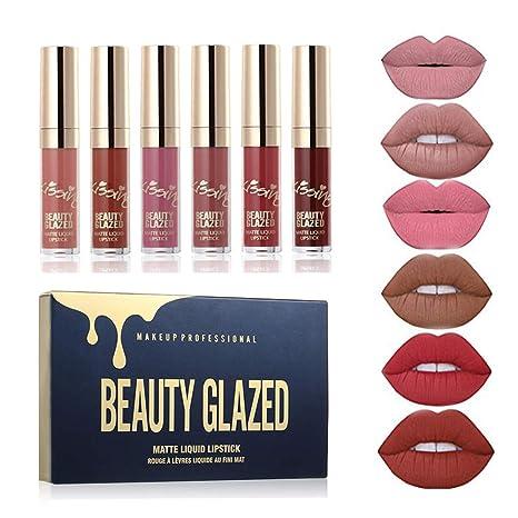 Beauty Glazed 6 Couleur Set Rouge à Lèvres Liquide Mat Longue Tenue Waterproof Liquid Lipstick Matte